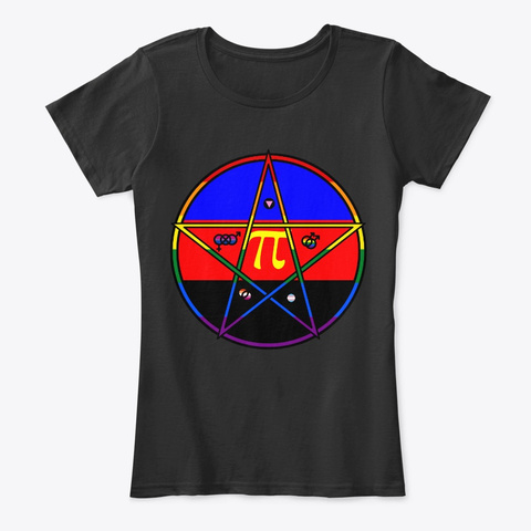 Queer Pentagram Polyamorous Black T-Shirt Front