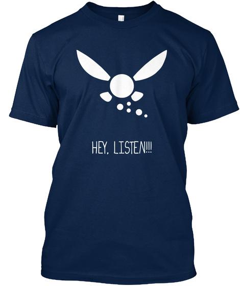 Hey Listen Navy T-Shirt Front