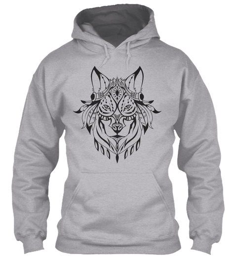 Hoodie Indian Wolf Head Sport Grey T-Shirt Front