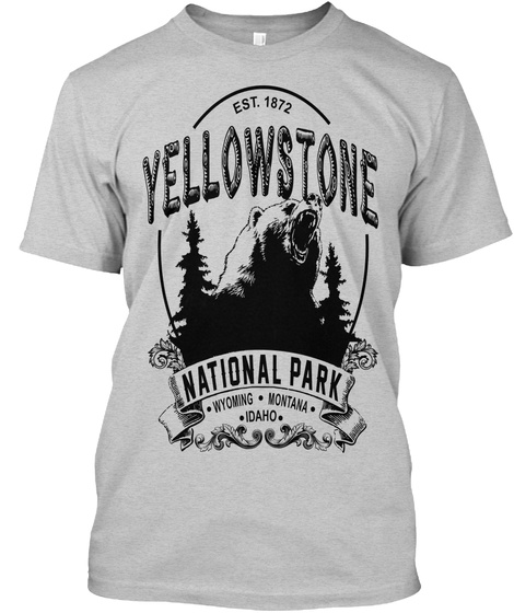 Est. 1872 Yellowstone National Park Wyoming Montana Idhano Light Steel T-Shirt Front