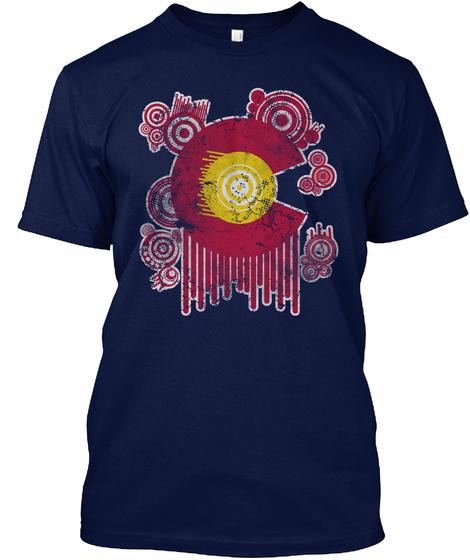 Colorado Flag Circles Art Navy T-Shirt Front