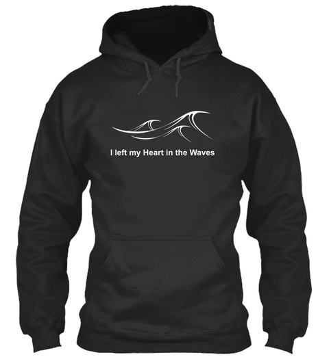 I Left My Heart In The Waves Jet Black T-Shirt Front
