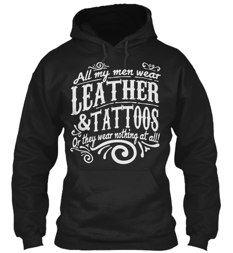 Leather &Amp; Tattoos Black T-Shirt Front