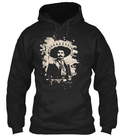Emiliano Zapata Bleached Creme White Black T-Shirt Front