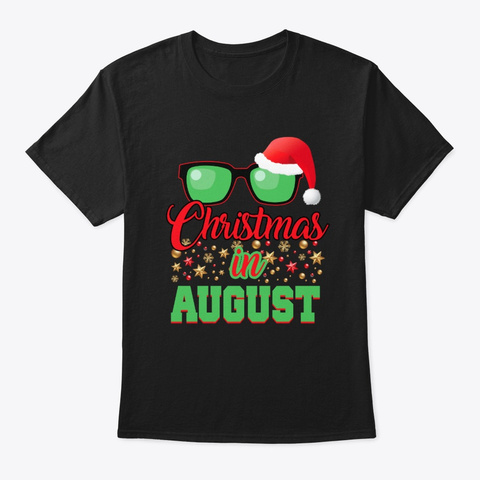Christmas Hat Sunglasses Summer Party Black T-Shirt Front