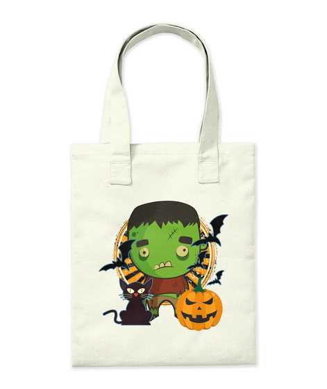 Green Monster Halloween Tote Natural Tote Bag Back