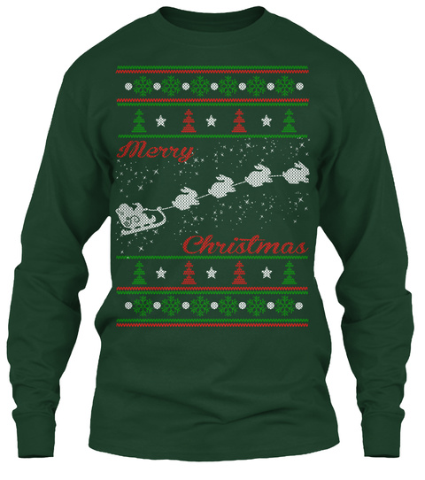 Merry Christmas Forest Green T-Shirt Front