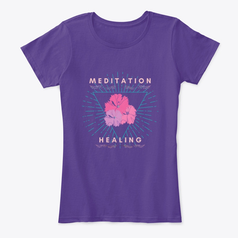 Meditation Is Healing Purple T-Shirt Front