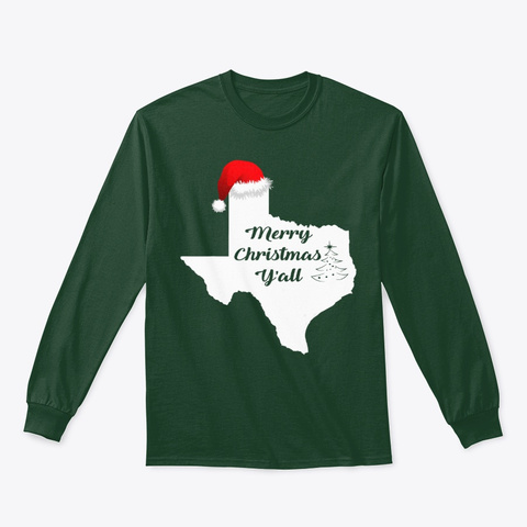 Texas Flag Merry Christmas Y'all Christ Forest Green T-Shirt Front