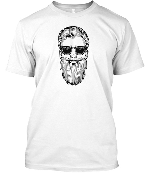 Bearded Hipster White T-Shirt Front