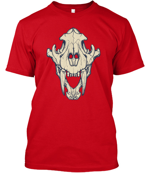 Sabre Toothed Tiger Tee Red T-Shirt Front
