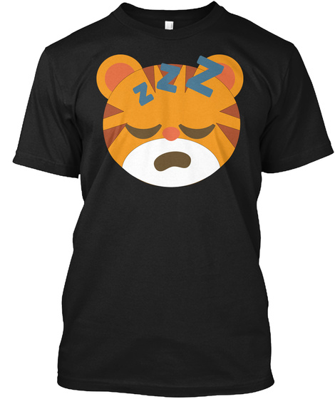 Tiger Emoji Sleepy And Zzz Face Black T-Shirt Front