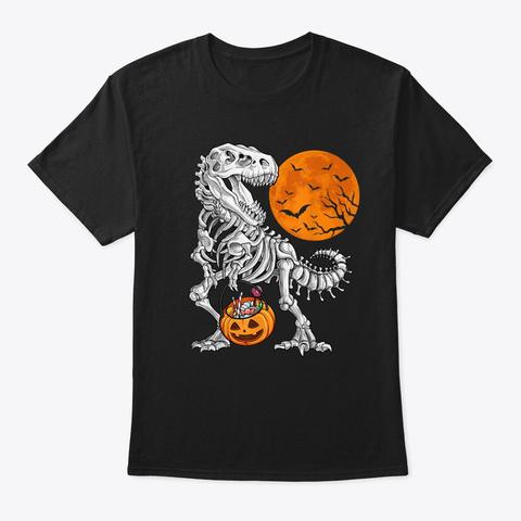 Funny Skeleton Dinosaur Candy Halloween Black T-Shirt Front
