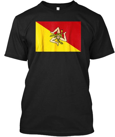 Sicilian Flag T Shirt   Authentic Scale Black T-Shirt Front