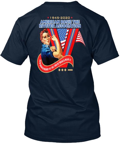 1945 2020 American Rosie The Riveter Association New Navy T-Shirt Back