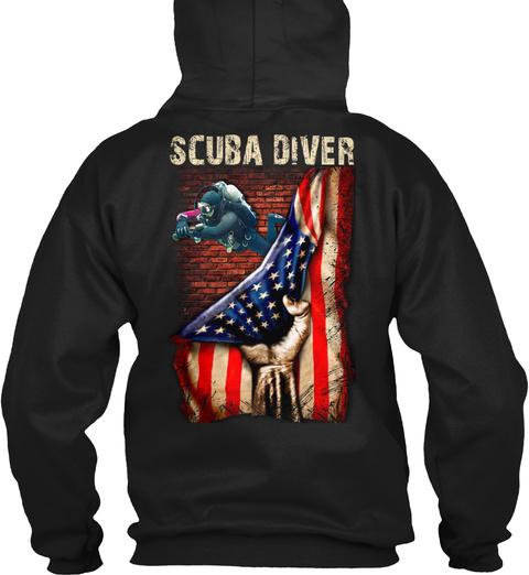 Proud Scuba Diver Black T-Shirt Back