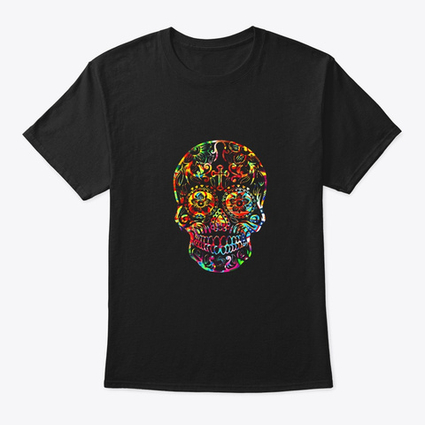 Day Of The Dead Sugar Skull T Shirt Black T-Shirt Front