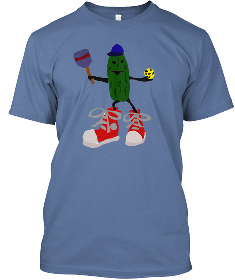 Funny Pickle With Pickleball Paddle Denim Blue T-Shirt Front