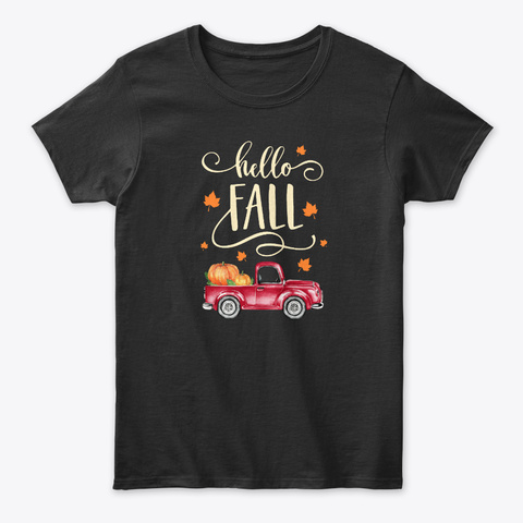 Vintage Hello Fall Pumpkin Patch Leaves Black T-Shirt Front