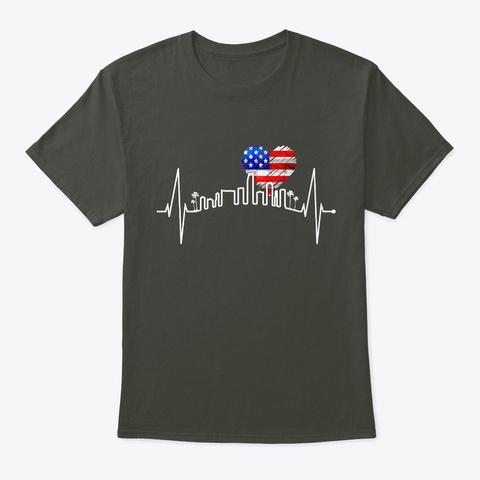 Miami Skyline Heartbeat Florida Usa Smoke Gray T-Shirt Front