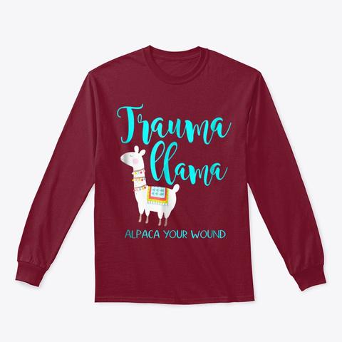 Trauma Llama Nurse Pun T Shirt Funny Cardinal Red T-Shirt Front