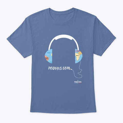 Connecting The World With Podcasts Denim Blue T-Shirt Front