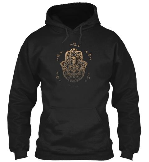 Hamsa Yoga  Black T-Shirt Front