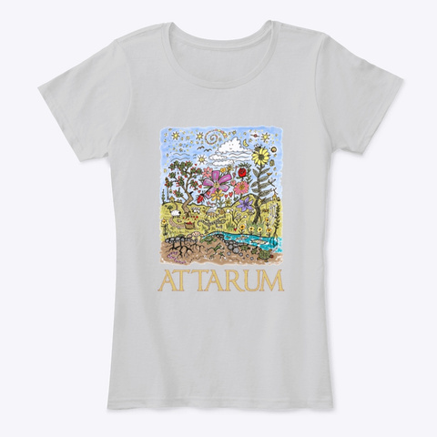 Women And Children's Sunny Doodles Art Light Heather Grey T-Shirt Front