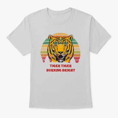 Tiger T Shirt Tiger Tee Scary Tiger Tee Light Steel T-Shirt Front