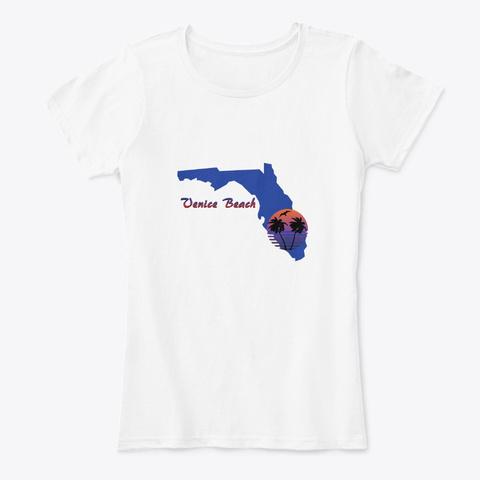 Venice Beach Florida White T-Shirt Front