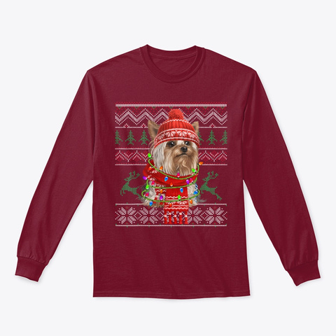 Yorkie Ugly Sweater Christmas Gift Lover Cardinal Red T-Shirt Front