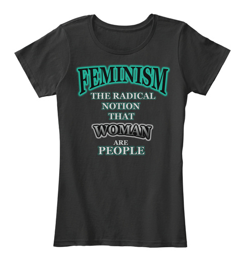 Feminism T Shirt Symbol Of Woman Power   Black T-Shirt Front