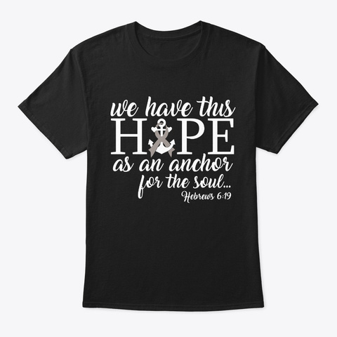 Hope Anchor Soul Brain Cancer Awareness Black T-Shirt Front