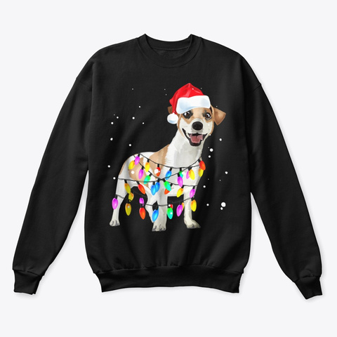 Jack Russell Terrier Christmas Lights  Black T-Shirt Front