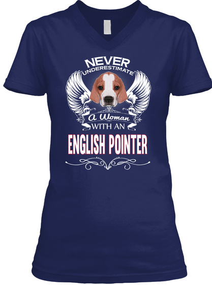 Super Power Woman With English Pointer Navy T-Shirt Front