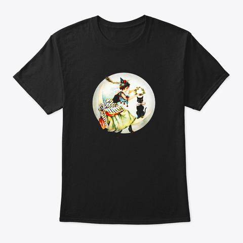The Black Cat Magazine Vintage Halloween Black T-Shirt Front