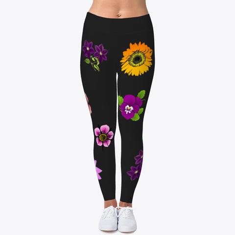 Floral Mix Leggings For Women  Black T-Shirt Front