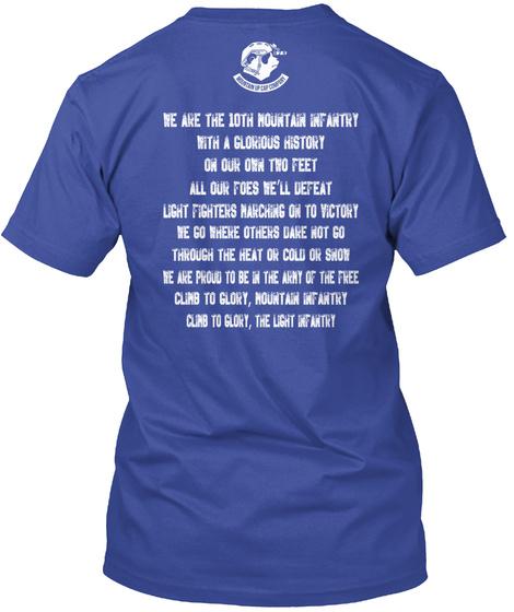 """10th Mountain """"Climb To Glory"""" Deep Royal T-Shirt Back"""
