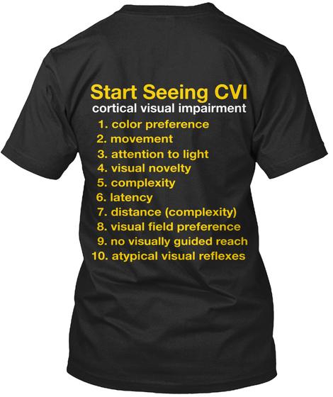Start Seeing Cvi Cortical Visual Impairment Vintage Black T-Shirt Back