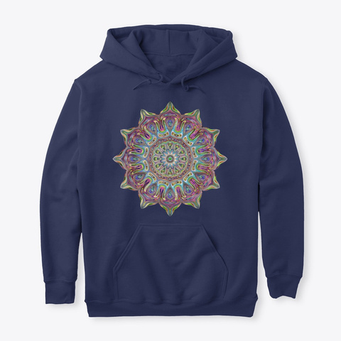 Mandala Hoodie Navy T-Shirt Front