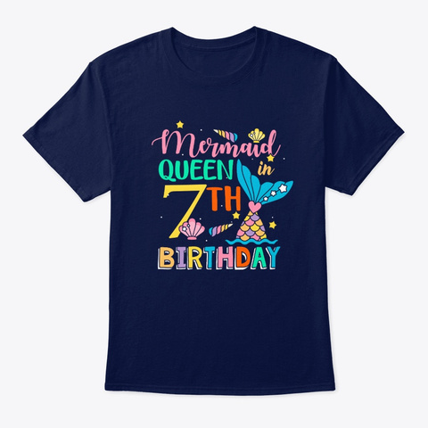 Mermaid Queen In 7th Birthday T Shirt Navy T-Shirt Front