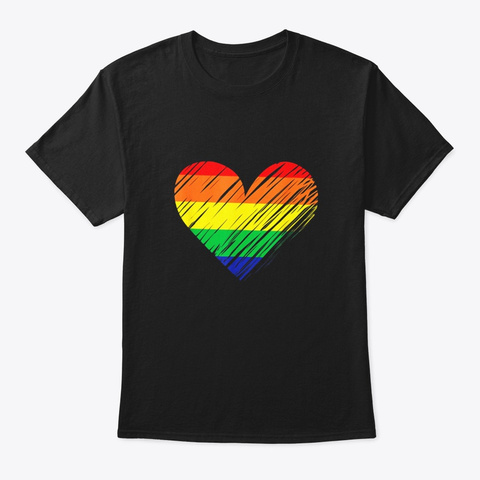 Cute Lgbt Heart Rainbow Flag Shirt Black T-Shirt Front