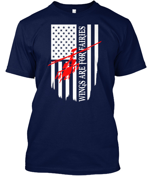 Wings Are For Fairies Navy T-Shirt Front
