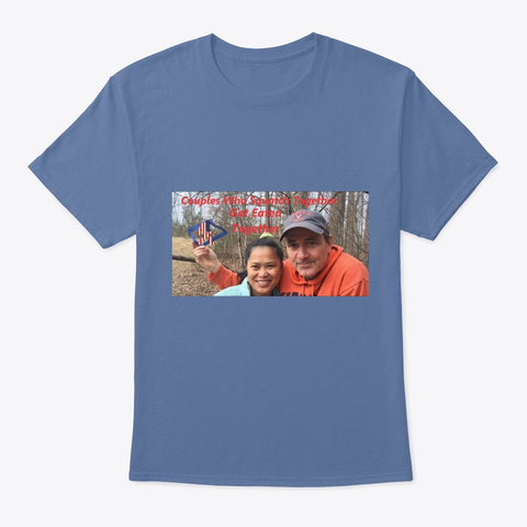Couples Who Squatch Together... Denim Blue T-Shirt Front