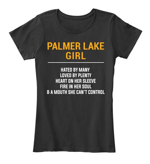 Palmer Lake Co Girl   Heart On Sleeve. Customizable City Black T-Shirt Front