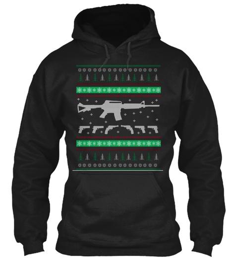Christmas Firepower Black T-Shirt Front