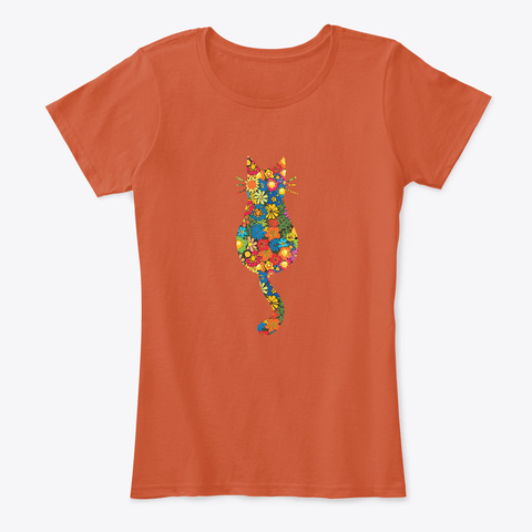 Flowery And Colorful Cat Art Design  Deep Orange T-Shirt Front