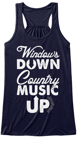 Windows Down Country Music Up Midnight Women's Tank Top Front