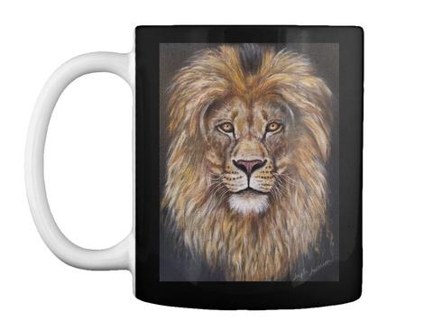 Lion Portrait Acrylic Painting  Black Maglietta Front