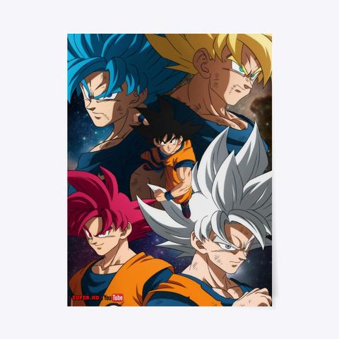 Poster De Las Transformaciones De Goku Light Blue T-Shirt Front